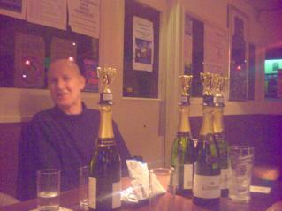 Alan guards the Winning goodies.